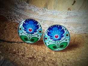 Šperky - Folklórne manžetky s modrým kvietkom - 6680441_