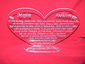 Darčeky pre svadobčanov - Srdiečko ako poďakovanie rodičom plexisklo 2 - 6681562_