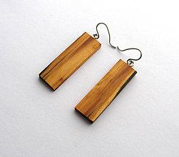 Náušnice - Špaltovaná breza - obdĺžničky - 6679810_