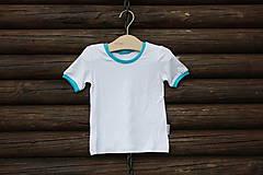 129355a4b Biele bambusové tričko s tyrkysovým lemovaním - veľkosť 86/9 - 6687231_