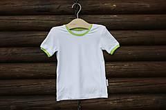 287e270f7 Detské oblečenie - Biele bambusové tričko s limetkovým lemovaním - veľkosť  86/92 - 6687256_