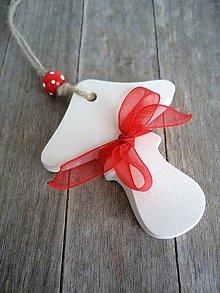 Dekorácie - Ozdoba vianočná muchotrávka - 6687576_