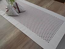 Úžitkový textil - štóla na stôl 40x140cm ľanovo béžová s bordovými srdiečkami  (40x140 cm) - 6685818_