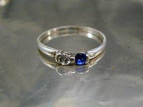 Prstene - S modrým a bielym zirkónom  - AG 925 - 6686983_