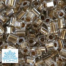 Korálky - TOHO rokajl (Hex 2mm) Gold-lined crystal - 6685215_
