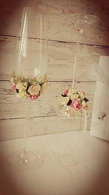 Nádoby - Poháre svadobné- staroružová.... - 6685544_