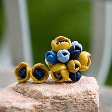 Sady šperkov - Žlto-modrá sada s napichovačkami - 6686263_