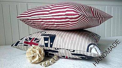 Úžitkový textil - Set 2 ks námorníckych vankúšov s jachtárskym vzorom a prúžkami - 6683234_