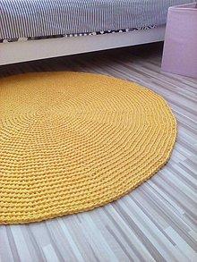 Úžitkový textil - AKCIA ... Háčkovaný okrúhly koberec - žltý - 6686592_