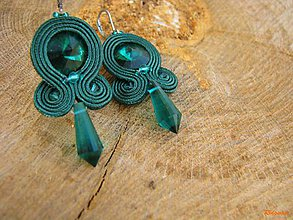 Náušnice - Simple...soutache (Emerald) - 6688682_