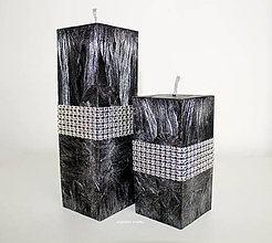 Svietidlá a sviečky - Luxusné čierne sviečky - 6691812_
