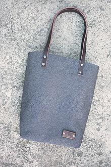 Veľké tašky - Sapwood kabelka / tmavě šedá / kůže, kanvas - 6687990_