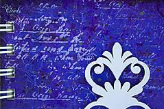 Papiernictvo - Vintage zápisník modro-fialový s ornamentom - 6691825_