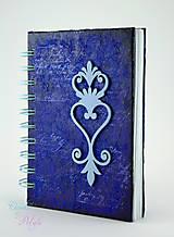 Papiernictvo - Vintage zápisník modro-fialový s ornamentom - 6691827_