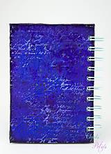 Papiernictvo - Vintage zápisník modro-fialový s ornamentom - 6691828_