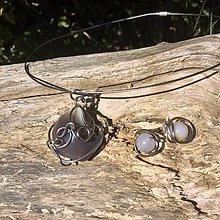 Sady šperkov - nerezová sada s bostwanským achátom - 6694786_