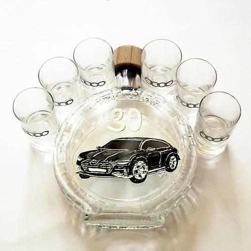 Ručne maľovaná fľaša auto k narodeninám:) Audi 9 na želanie