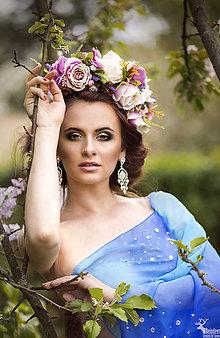Ozdoby do vlasov - Svadobná kvetinová parta - 6695274_