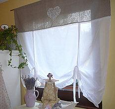 Úžitkový textil - Srdíčková přírodní lněná záclonka...vel.na přání - 6696613_