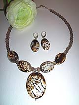 achát leopard náhrdelník náušnice