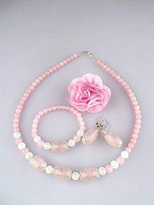Sady šperkov - ruženín náhrdelník náramok náušnice súprava- darované z lásky - 6693479_