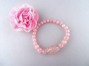 Náramky - ruženín náramok - ružový úsmev - 6694815_