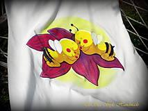 Tehotenské/Na dojčenie - Tehotenské maľované tielko - včielky  - 6694534_
