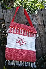 Veľké tašky - Tkaná červeno-biela taška s výšivkou - 6693123_