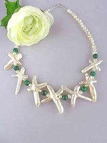 Náhrdelníky - perly malachit náhrdelník - 6698496_