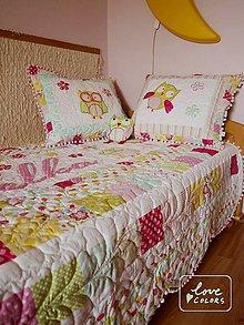 Úžitkový textil - Quiltovaný prehoz pre dievčatko - 6701193_