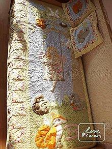 Úžitkový textil - Quiltovaný prehoz s vílou a zvieratkami - 6701321_