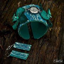 Hodiny - Tyrkysová orchidea - sada hodiniek a náušníc - 6698168_