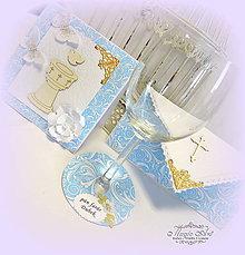 Papiernictvo - Blue sky- menovka na pohár - 6701304_