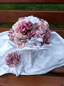Kytice pre nevestu - Ružovo biela kytička - 6699274_