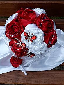 Kytice pre nevestu - Červeno biela s motýlikmi - 6699296_