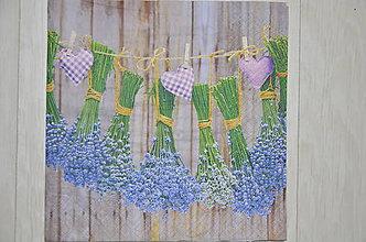 Papier - Servítka Levanduľové kytice na motúze - 6701895_
