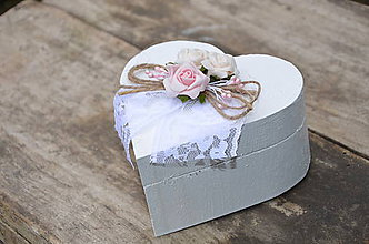 Krabičky - Svadobná krabička - srdce - 6703167_