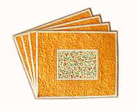Úžitkový textil - Prestieranie oranžové s bodkami - 6703270_