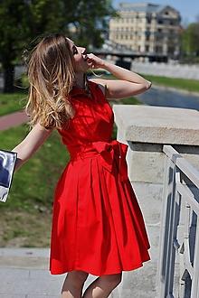 Šaty - Letní zavinovací šaty MONA, sytě červená, vel 36/38 - 6703063_