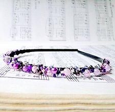 Ozdoby do vlasov - Violet & Powder Pink/ Korálková čelenka - 6704393_