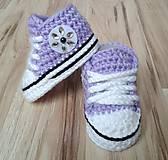 Topánočky - Fialové tenisky s kvetinkou - 6703122_