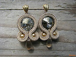 Náušnice - champagne/crystal gold patina...soutache - 6702917_