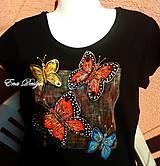 tričko maľované - Čaro motýlieho sveta- čierne