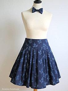 Sukne - set z modrotlače: skladaná sukňa a motýlik - 6702975_