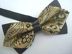 Doplnky - Motýliky luxusný zlato čierny - 6702260_