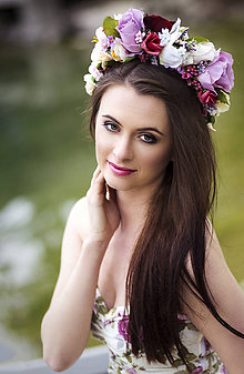 Ozdoby do vlasov - Svadobná kvetinová parta - 6708902_