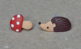 Náušnice - Centrum Slniečko: Náušničky ježko a muchotrávka - 6706515_
