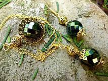 - sada - náušnice a náhrdelník so zeleným irisom - 6707401_
