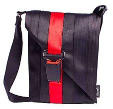 Kabelky - Favorit black and cherry - z bezpečnostných pásov - 6709054_