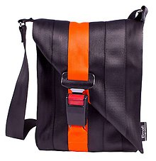 Kabelky - Favorit black and orange - z bezpečnostných pásov - 6709067_
